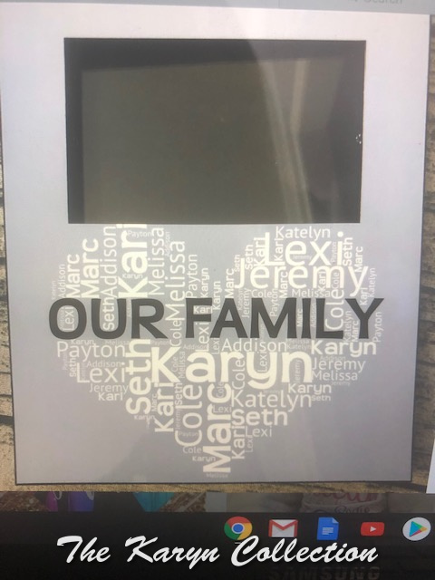 Our Family picture frame....looks fabulous in person!!