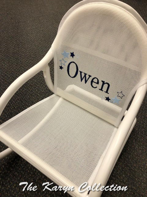 Owen's white mesh Rocker with Shadow Stars