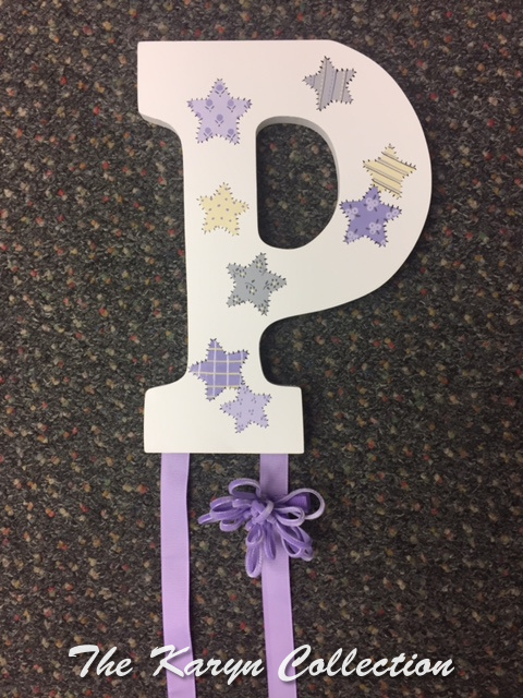 Patchwork Stars Initial Hand Painted Barrette Holder