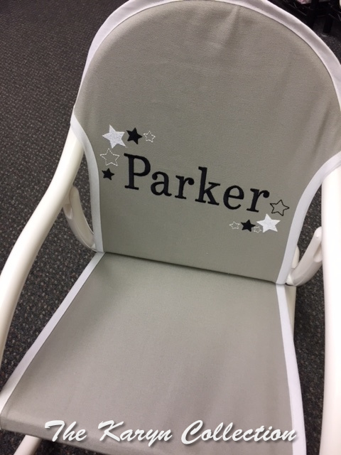 Parker's All Stars Rocking Chair on lt.gray canvass with white trim