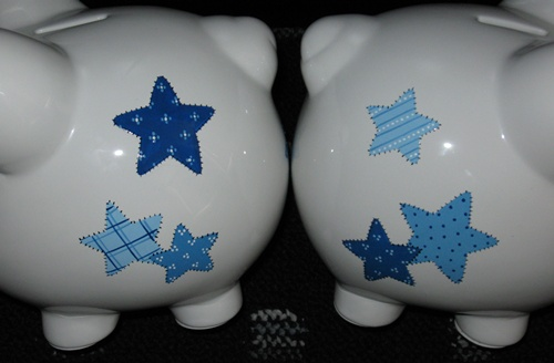 Blue Patchwork Stars Piggy Bank