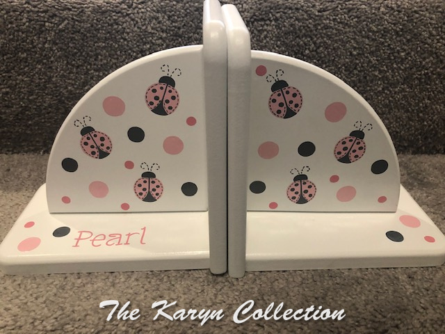 Pearl's Ladybug Bookends in pinks and gray