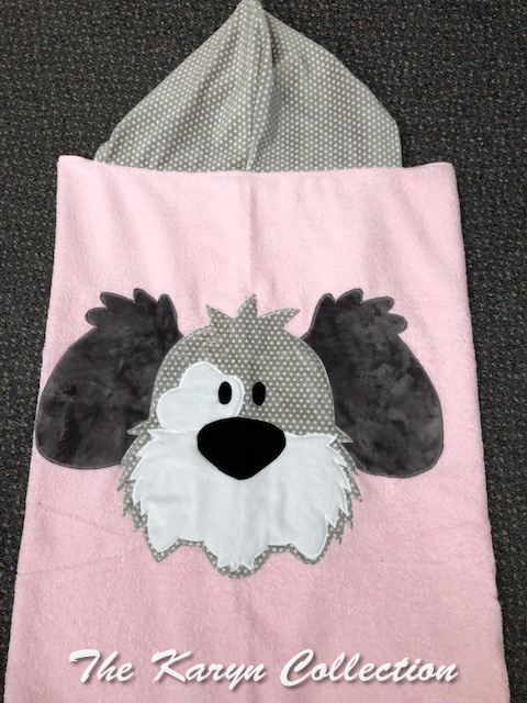 Pink and Gray Dog Toddler Towel