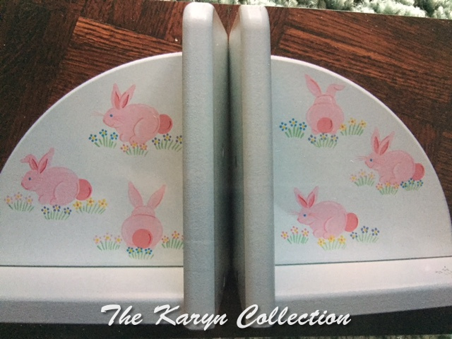 Painted Pink Bunnies Bookends