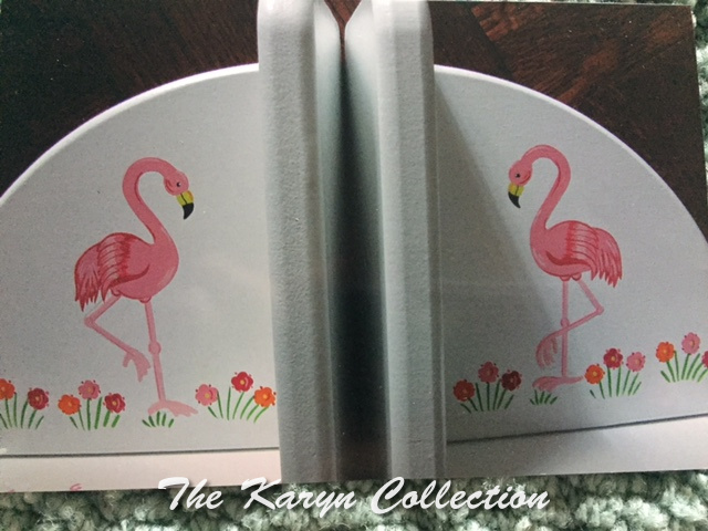Painted Pink Flamingo Bookends