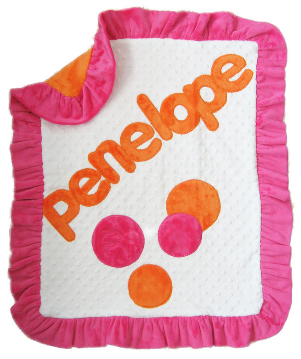 Hot Pink & Orange Dots Minky Blanket