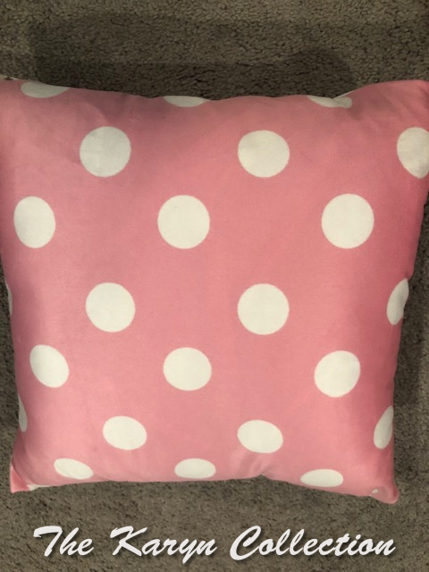 Pink Polka Dot Pillow back for Birth announcent pillows.... feels like ultra suede.....