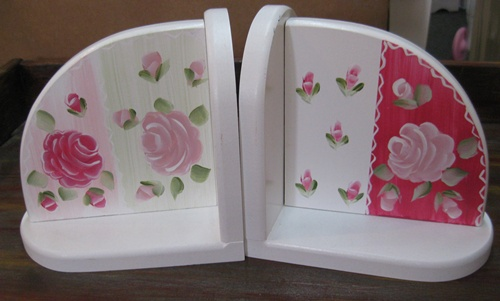 Pink & Green Cabbage Rose Bookends