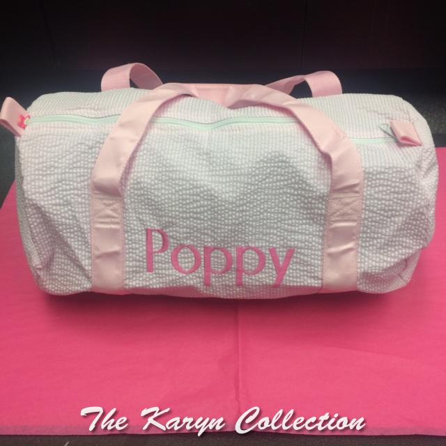 Poppy's Pink Seersucker Duffle with Pink Trim