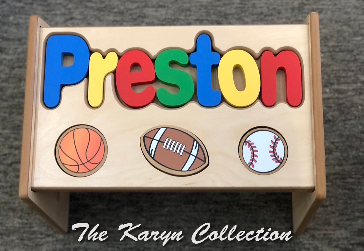 ..New!! Preston's Sports Puzzle Stool shown in natural