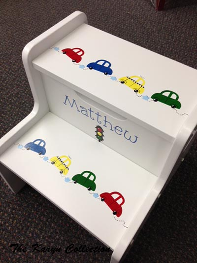 Matthew's Cars  2-Step Stool shown in primary colors