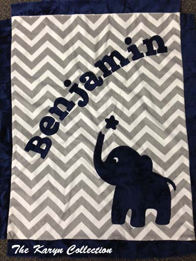 Basic Elephant Minky Blanket on Chevron