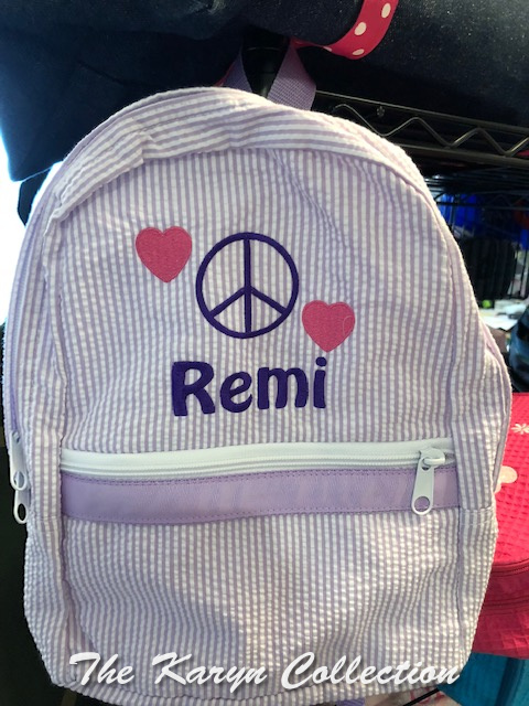 Remi's Hearts and Peace Sign Backpack-available mini or large