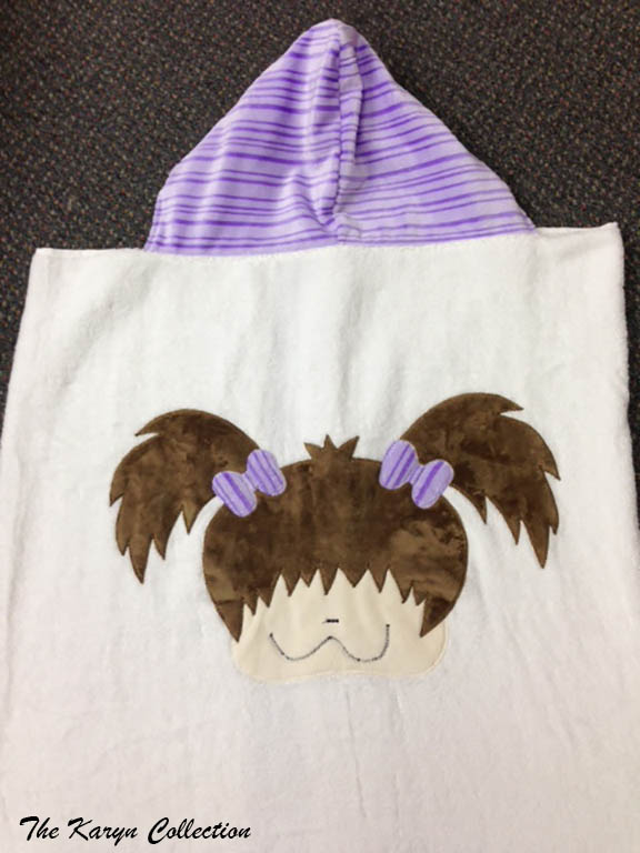 Purple Pigtail Girl Toddler Towel