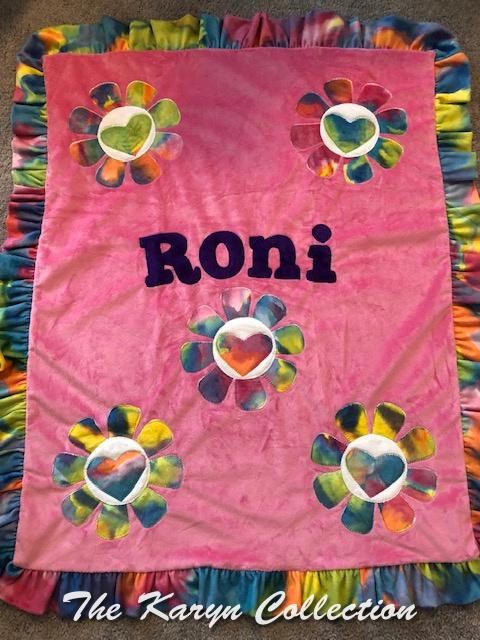 Roni's Tie Dye Flowers on Pink minki Blanket