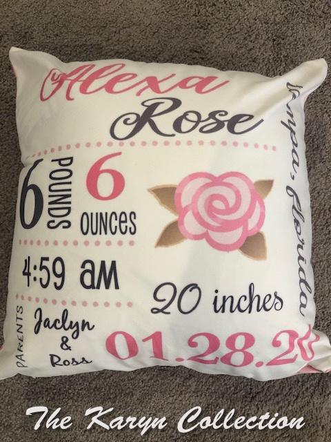 Alexa Rose's Birth Announcement Pillow