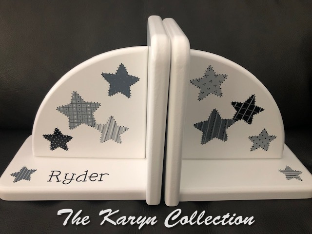 Ryder's patchwork stars Bookends... in shades of gray