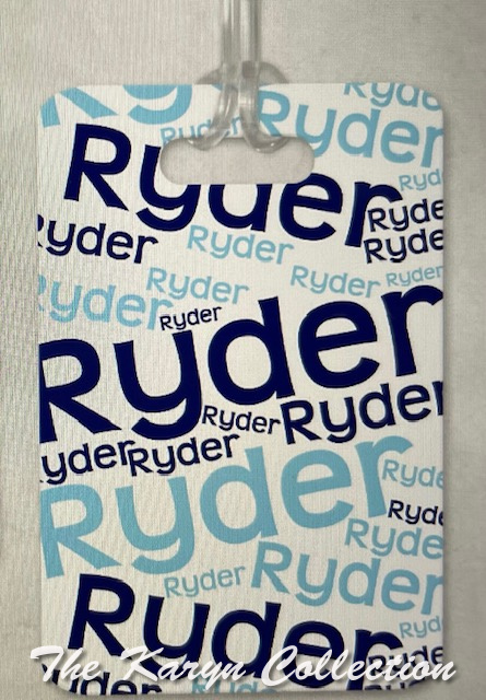 Ryder's Luggage Tags......shown with his name repeated in blue