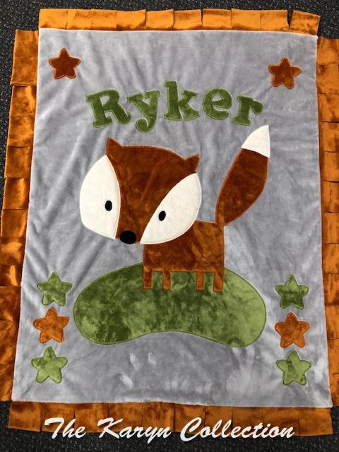 Ryker's gray and burnt orange Fox MINKY blanket