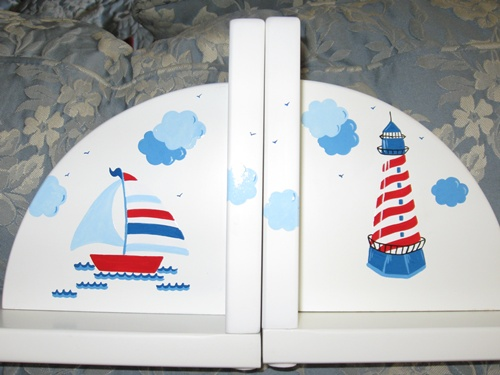 Delicate Painted Sailboat Bookends