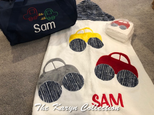 Sam's Cars Hooded Towel with other car accessories for a big matching baby gift