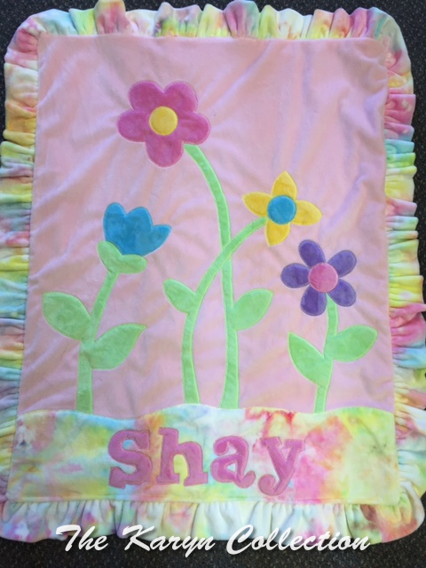 Shay's Minky Blanket with Petal Flowers