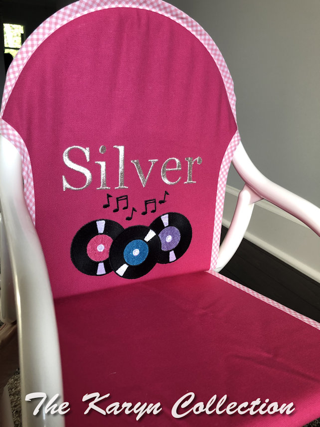 Silver's Hot Pink canvas Rocker with records!!