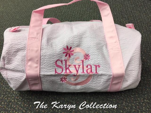 Skylar's pink seersucker Duffle Bag