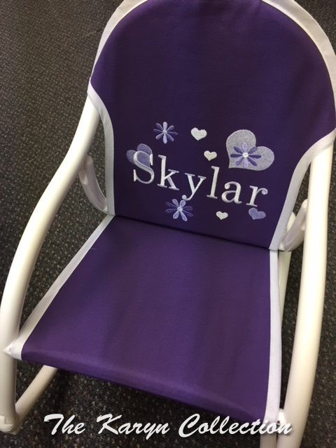 Skylar's Flowers and Hearts Purple  Rocking Chair