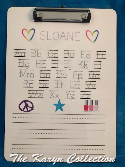 Sloane's ABC Wipe Off Clipboard- including nail polish