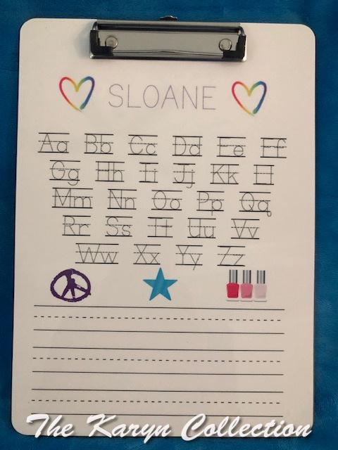 Sloane's ABC Wipe Off Clipboard- including nail polish