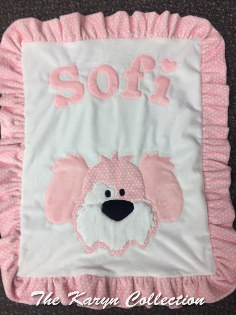 Sofi pink puppy  mini minky blanket