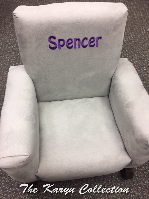 Spencer's gray suede rocking chair