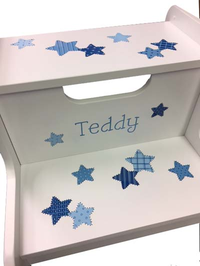 Teddy's Patchwork Stars 2 step stool-shades of blue