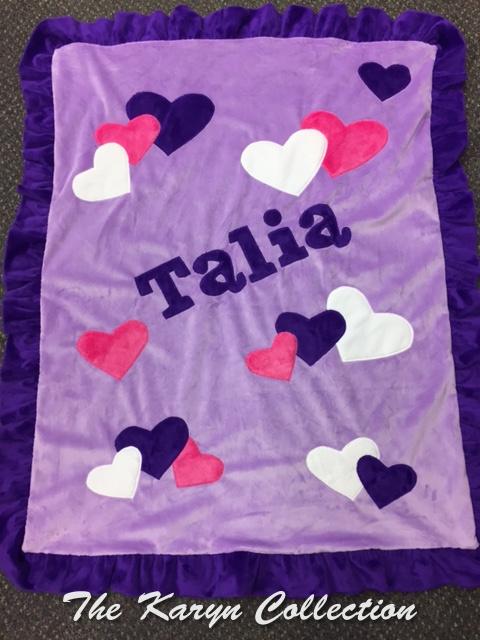 Talia's Lavender Hearts Minky Blanket