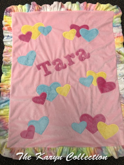 Tara's pastel heart blanket with tie dye accents!