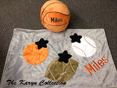 Miles' personalized plush basketball with or without the pillowcase