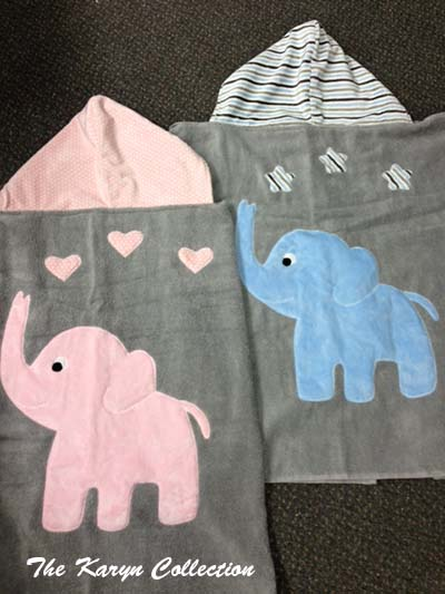 Pink or blue elephant Toddler Towels...