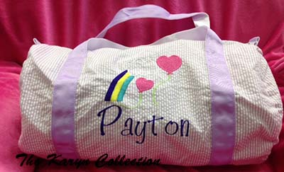Payton's Lavender Seersucker Duffle Bag