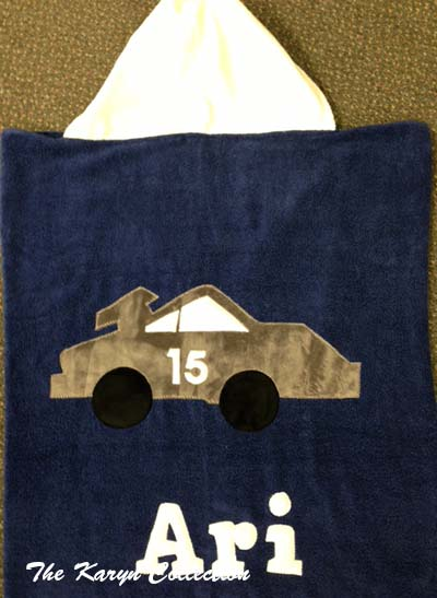 Blue Race Car Hooded Towel