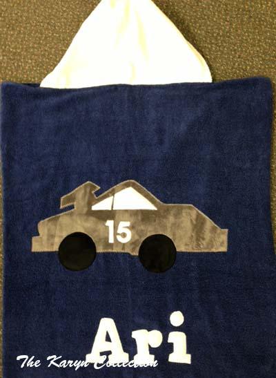 Blue Race Car Hooded Towel