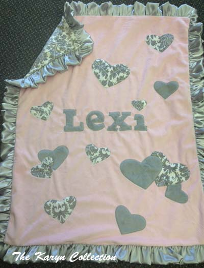 Lexi's Grey and Pink Heart Blanket