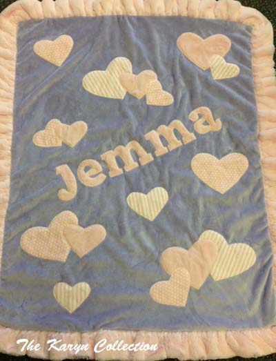 Lavender with Pink Hearts Blanket