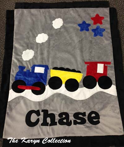 Train Minky Blanket
