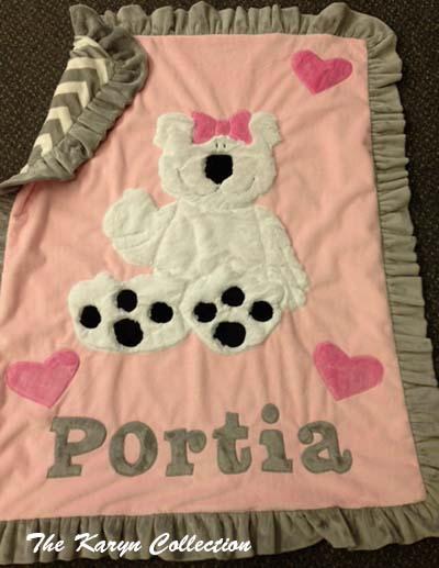 Pink Teddy Bear Minky Blanket