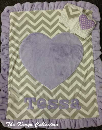 Tessa's Chevron Grey and Lavender Blanket with Matching Burps