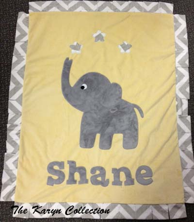 Light Yellow and Grey Elephant Blanket