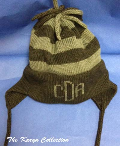 Three Initial Striped Earflap Hat