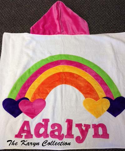 Bright Pink Rainbow Toddler Towel with Appliqued Name