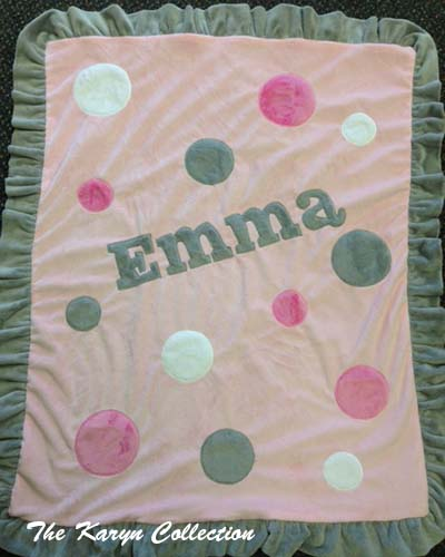 Lt Pink and Gray Polka Dots Minky Blanket